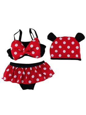 Little Girls Black Red Polka Dot Mickey Hat Bikini Swimsuit