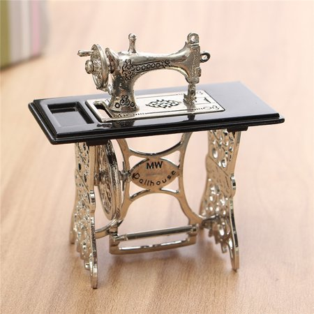 Vintage Dollhouse Sewing Machine Miniature Furniture Toy Table Metal Decoration Kids Children