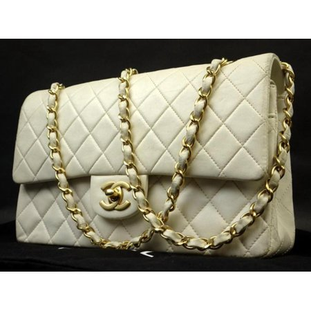 Quilted Lambskin White x Gold Medium Double Flap 221806 Quilted Lambskin Single Flap