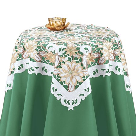 Embroidered Gold Poinsettia Cut-Out Christmas Table Runner/Topper Linens, Festive Indoor Decor, Square