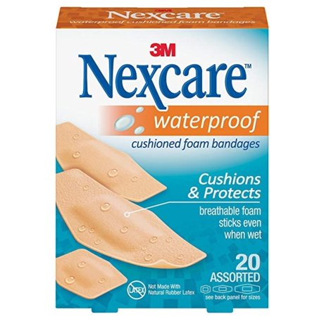 3M Nexcare Waterproof Cushioned Bandages, 20
