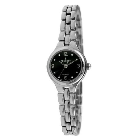 Women's Small Silver-Tone Link Bracelet Watch Black Dial 1015BK