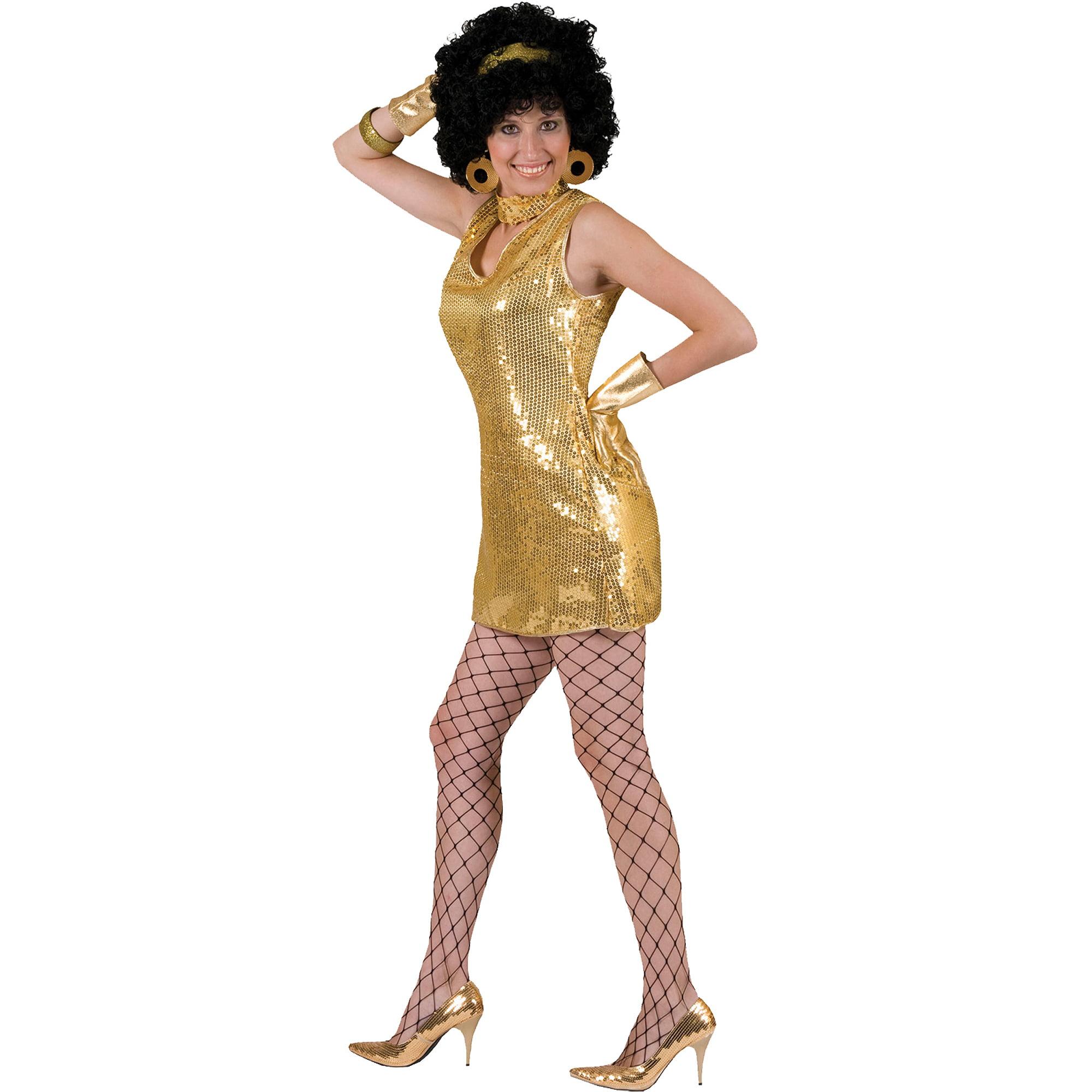 Gold Disco Dress Adult Halloween Costume