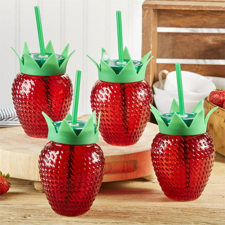 Two's Company Strawberry Glasses With Lids and Straws, Set of