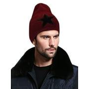 Burgundy Korean New Thick Knitting Warm Star Decor Beanie Cap for Mens