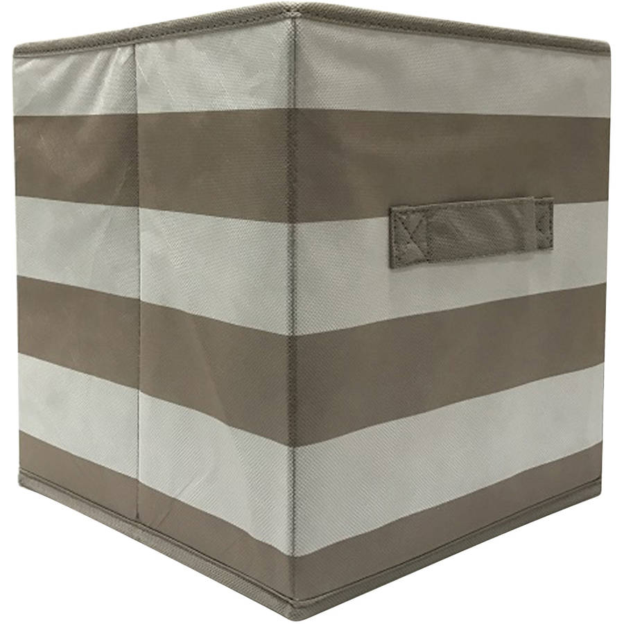 Mainstays Collapsible Fabric Storage Cube, Taupe, Stripe Pattern