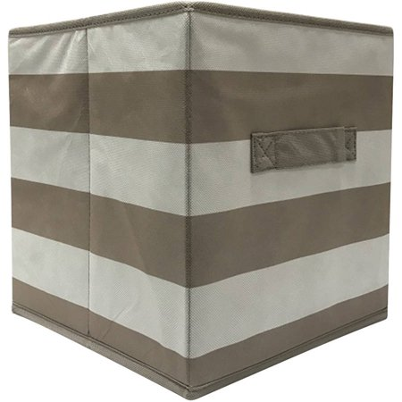 mainstays collapsible fabric storage cube taupe stripe pattern set of 2. Black Bedroom Furniture Sets. Home Design Ideas