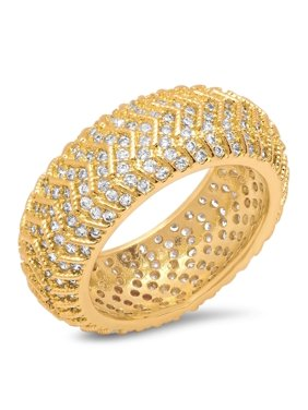 adfb39d8c0a9d Product Image Ladies Gold Tone Brass Cubic Zirconia Round Accented Ring