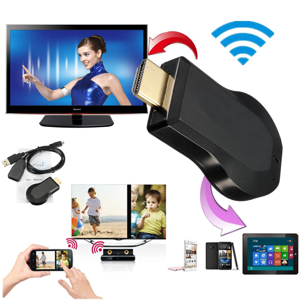1080P HD WiFi Display Dongle,TV Stick Receiver Screen Mirror dongle, Streaming Media Player for iPhone iOS/Android/Windows/Projector/TV/MAC