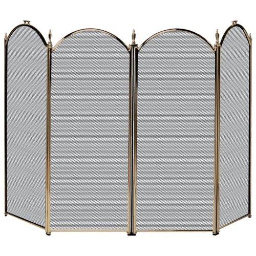 Uniflame 4 Panel Triple-Plated Folding Fireplace Screen