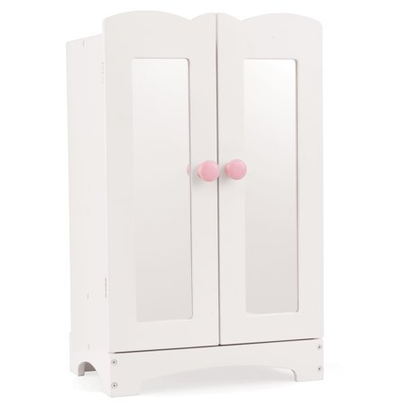KidKraft Wooden Lil' Doll Armoire with 6 Hangers, Furniture for 18-Inch Dolls - White ()