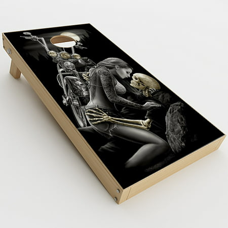 Skin Decals For Cornhole Game Board (2Xpcs.) / Biker Skeleton Full Moon Tattoo (Tattoos Games)