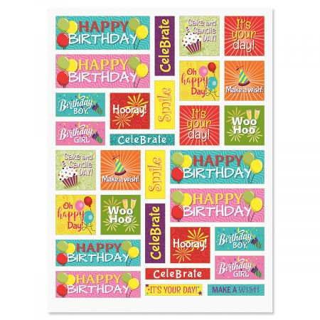 Birthday Words in Squares Stickers - 60 Stickers two 8-1/2