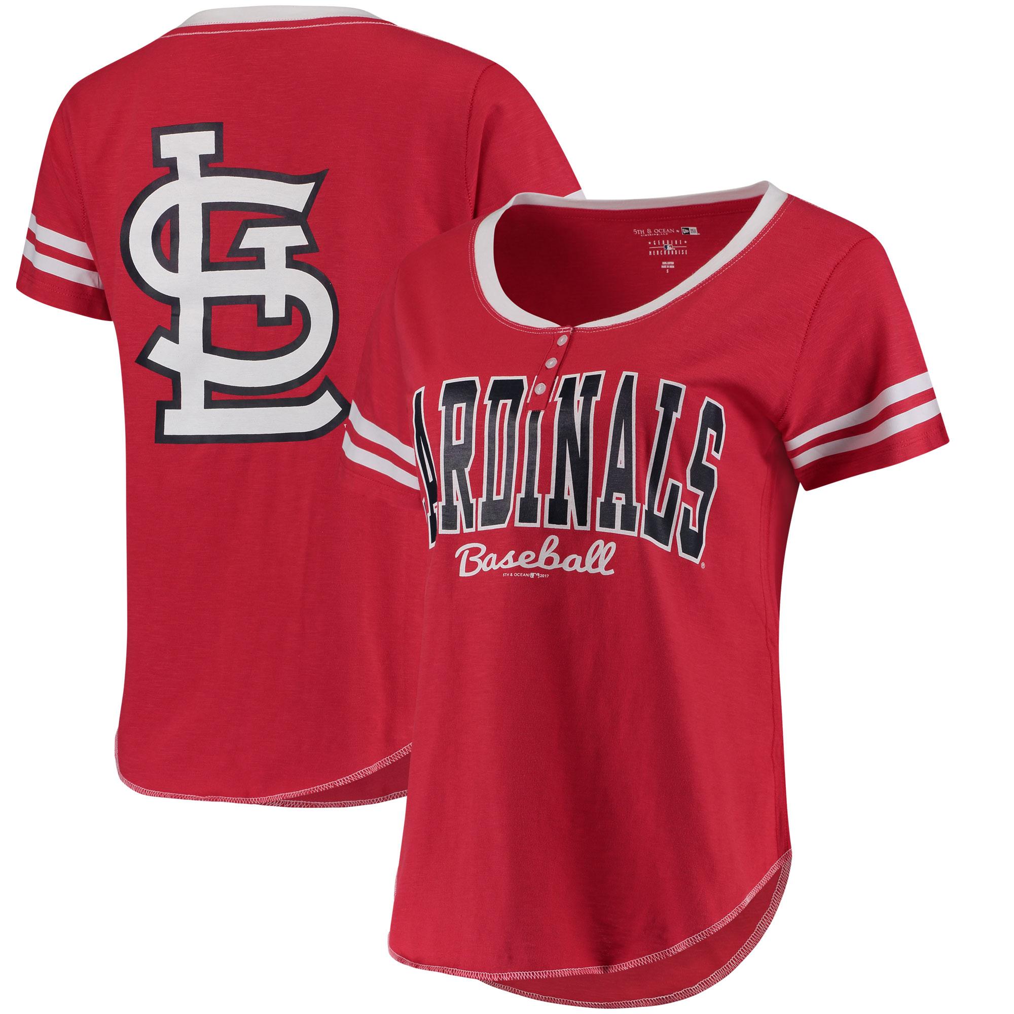 St. Louis Cardinals 5th & Ocean by New Era Women's Slub Henley T-Shirt - Red/White