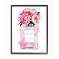 The Stupell Home Decor Collection Glam Perfume Bottle V2 Flower Silver Pink Peony Oversized Framed Giclee Texturized Art