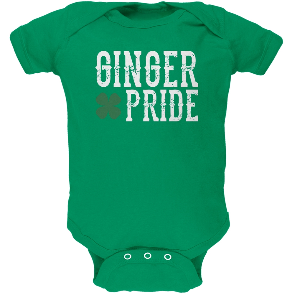 St. Patricks Day - Ginger Pride Kelly Green Soft Baby One Piece