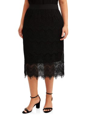 Women's Plus Size Lace Overlay Skirt