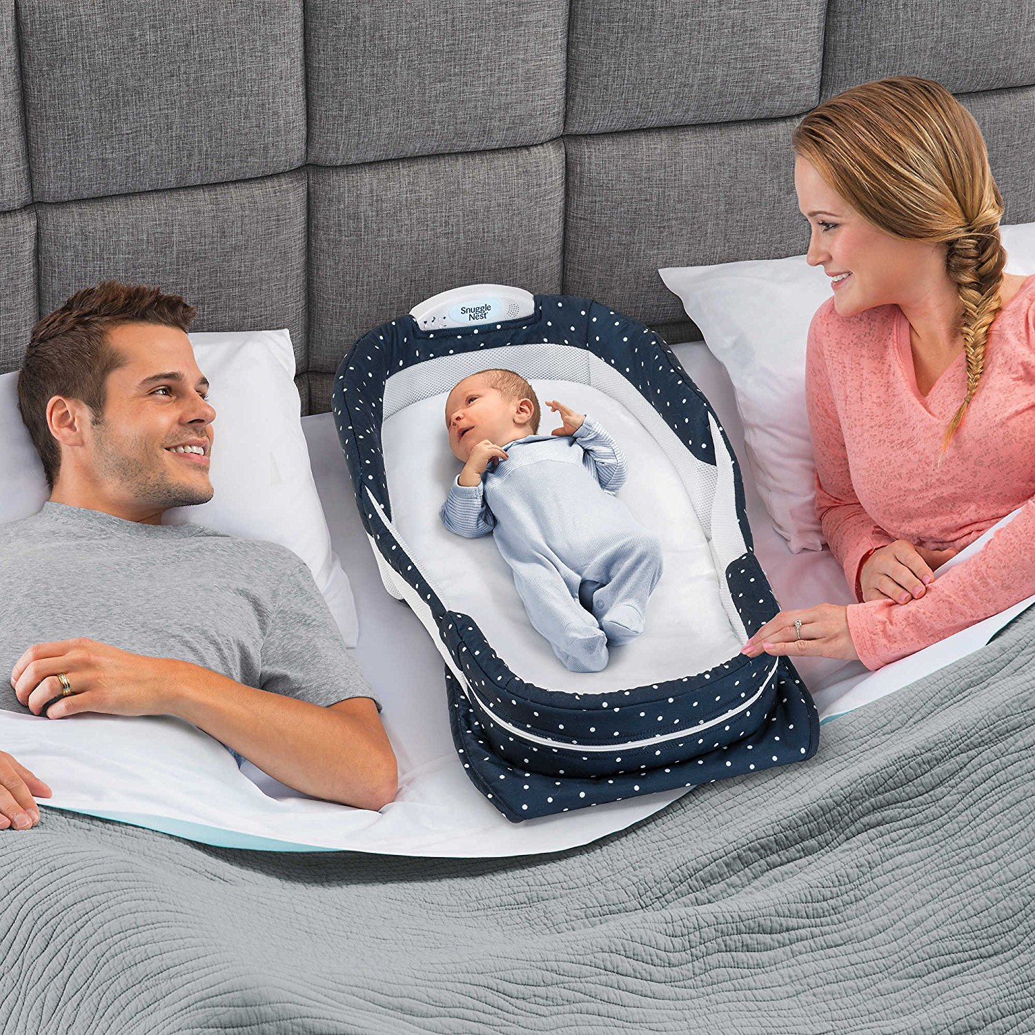 Baby Delight Snuggle Nest Surround Extra-Long Portable Infant Sleeper in Navy Swiss