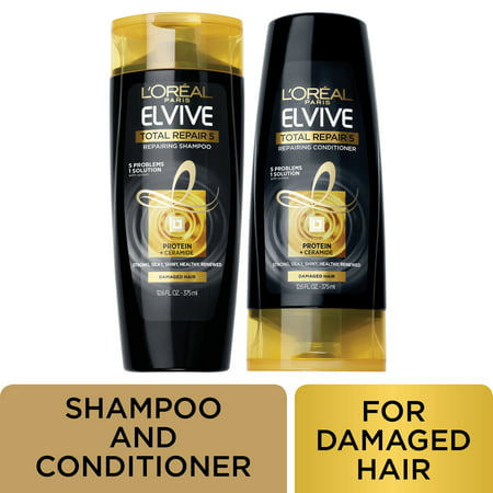 L'Oreal Paris Elvive Total Repair 5 Shampoo and Conditioner, Damaged Hair, 3 COUNT