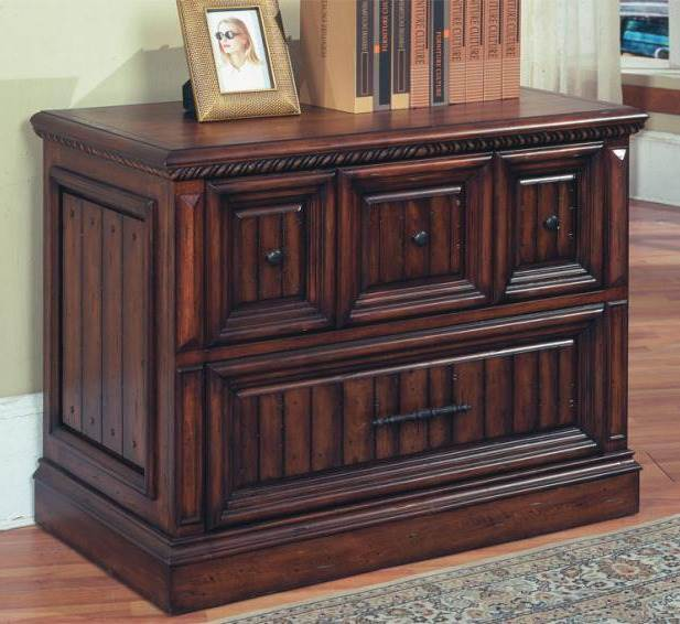 Solid Wood Lateral File Cabinet In Walnut Stain w Two-Drawers
