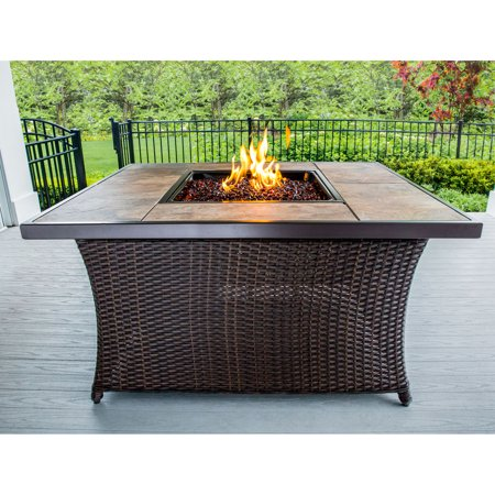 Hanover 40,000 BTU Woven Fire Pit Coffee Table with Porcelain Tile Top and Burner Lid ()