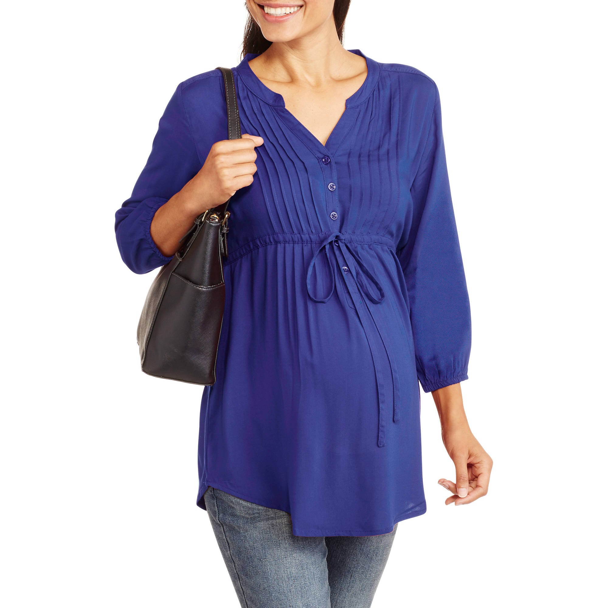 Millenium Maternity Pleated Front Tie-Waist Shirt
