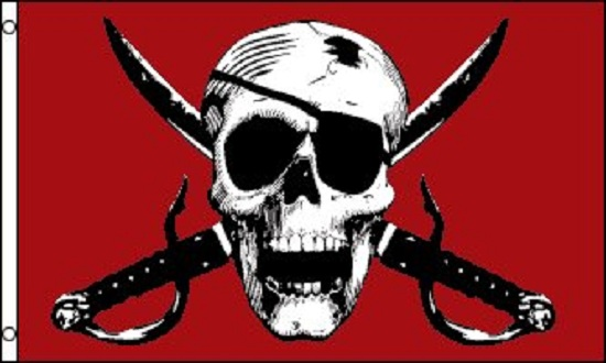 5/' x 3/' Pirate Flag Red Crimson Skull and Crossbones Jolly Roger Party Banner