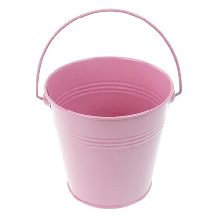 Metal Pail Buckets Party Favor, 5-inch, - Pink Plastic Bucket