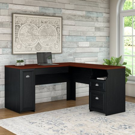 Bush Furniture Fairview L Shaped Desk in Antique Black (Component Kit Piece) ()