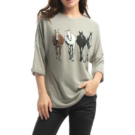 Unique Bargains Crew Neck Dolman Sleeve Horse Print Shirt Loose Top (Women's)
