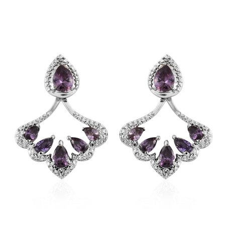 - Women's Cubic Zircon Amethyst Dangle Drop Earrings
