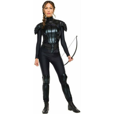 The Hunger Games Mockingjay Part 1 Deluxe Katniss Women's Adult Halloween Costume (Black Man White Woman Halloween Costumes)
