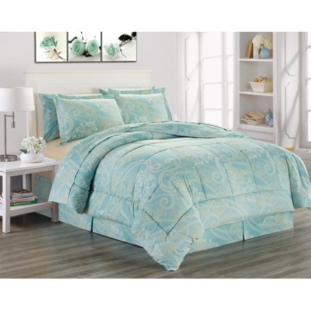 Lenox Royal Scroll - Ultra Soft Microfiber 8 PC Royal Scroll Damask Printed Down Alternative Bed in a Bag, Bedding Set (Adele, Queen)
