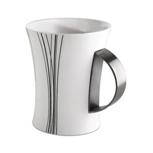 New Black and white coffee mug with a stainless steel accent * Stainless Steel *