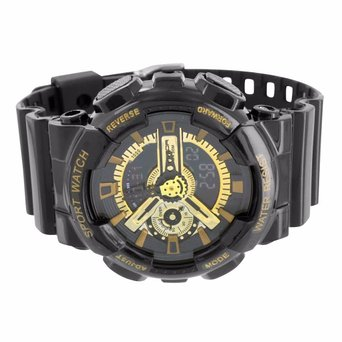 Black Gold Shock Resistant Watch Silicone Band Digital Analog Men Sports Edition