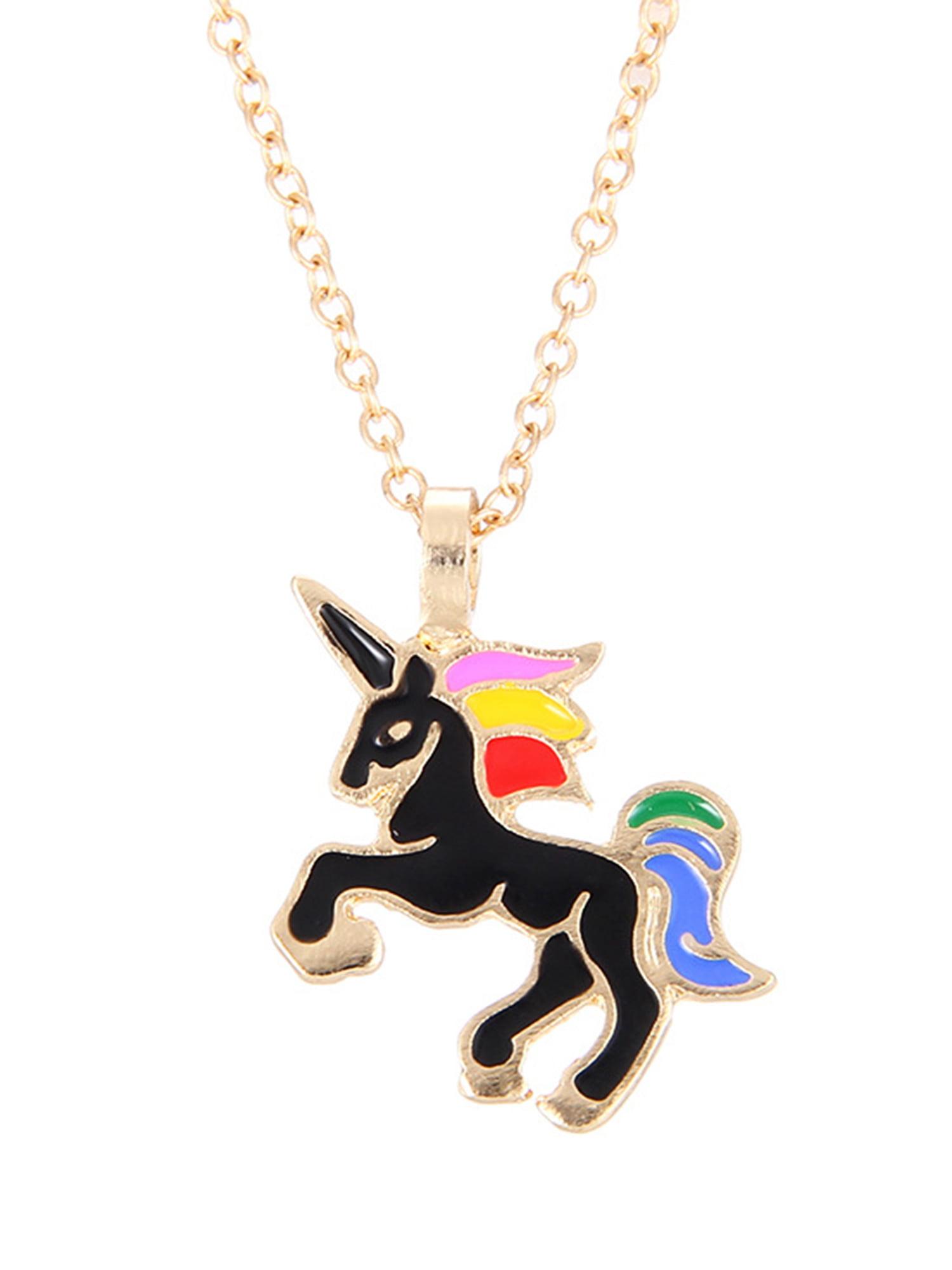 Enamal Unicorn Necklace Lovely Pendant Charm Chain Jewellery Girl for Sweater 1x