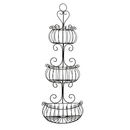 J Miles CO JMiles UH-WB231 3 Tier Decorative Black Wire Basket - Freestanding or Hanging Wire Basket