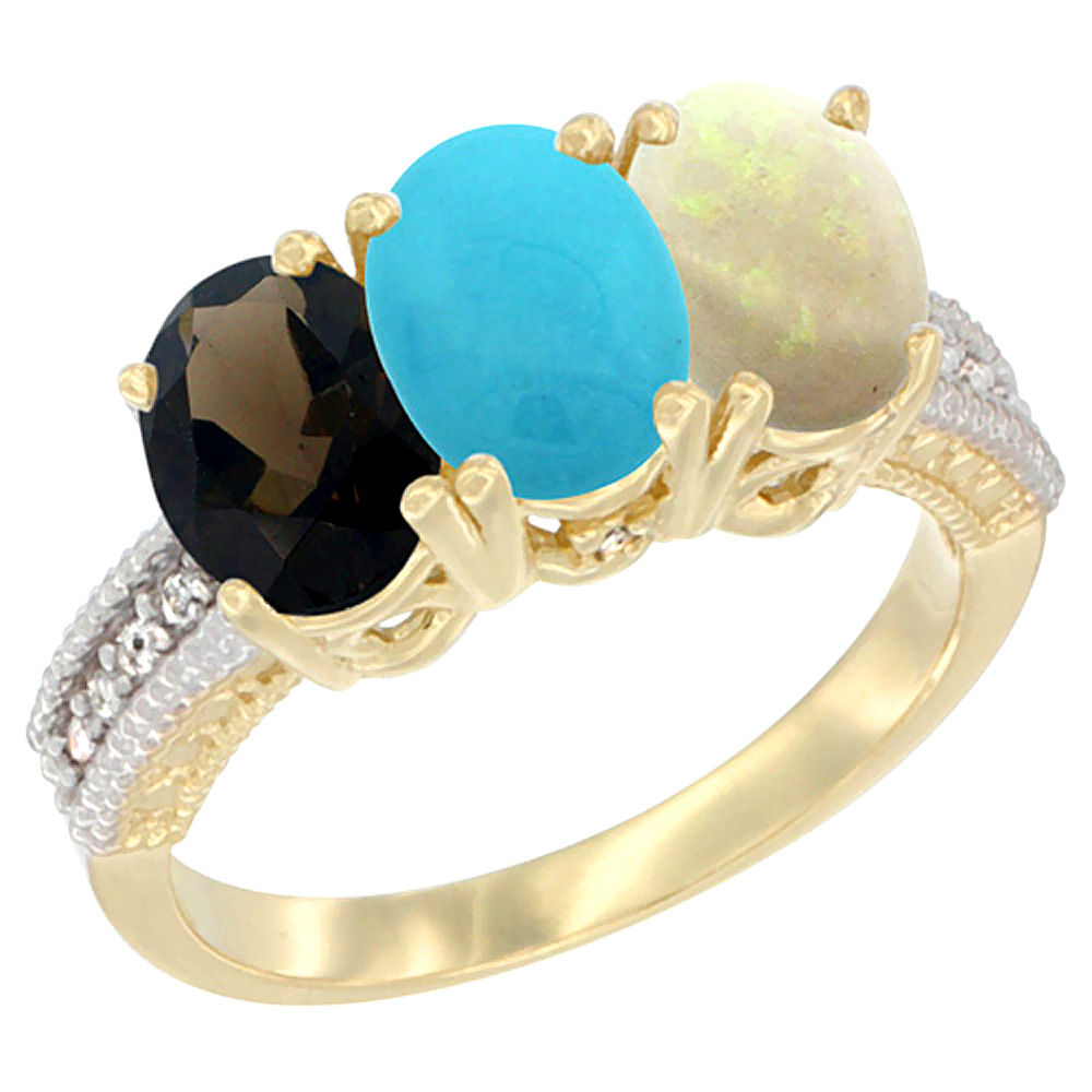 10K Yellow Gold Diamond Natural Smoky Topaz, Turquoise & Opal Ring 3-Stone 7x5 mm Oval, sizes 5 10 by WorldJewels