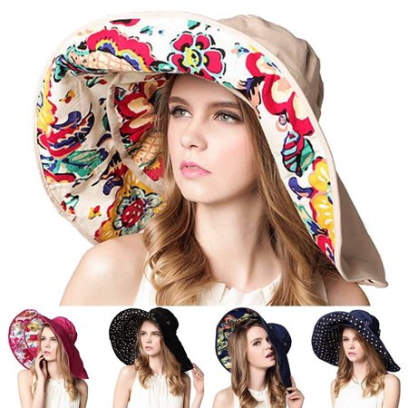 Women Wide Brim Hat Packable Floppy Sun Hats Beach Cap UPF 50+ Beach Sun Bucket Hat