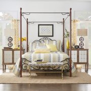 iNSPIRE Q LeAnn Graceful Scroll Iron Metal Queen-sized Canopy Poster Bed by  Classic