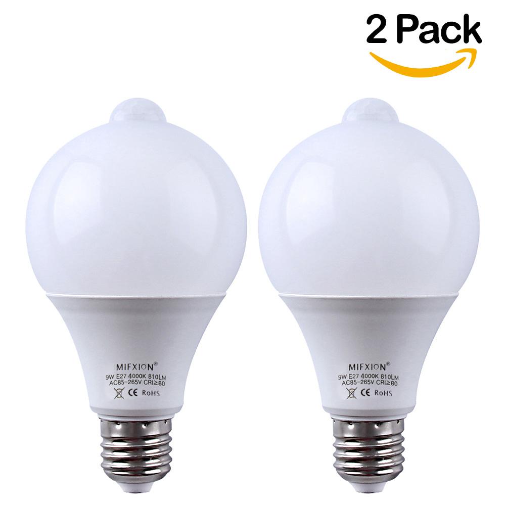 2 Pack 9W 810Lumens E27 Base PIR Infrared LED Bulb with Dusk to Dawn Auto Energy Saving Light Lamp Bulb,Nature White 4000K