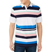 Men Shirt White Blue Multi Striped Stretch Polo $49 XL