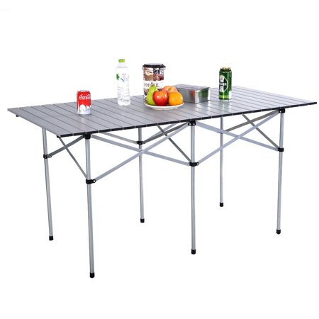 Portable Aluminum Roll Up Table Folding Camping Outdoor Picnic Table - Large outdoor picnic table