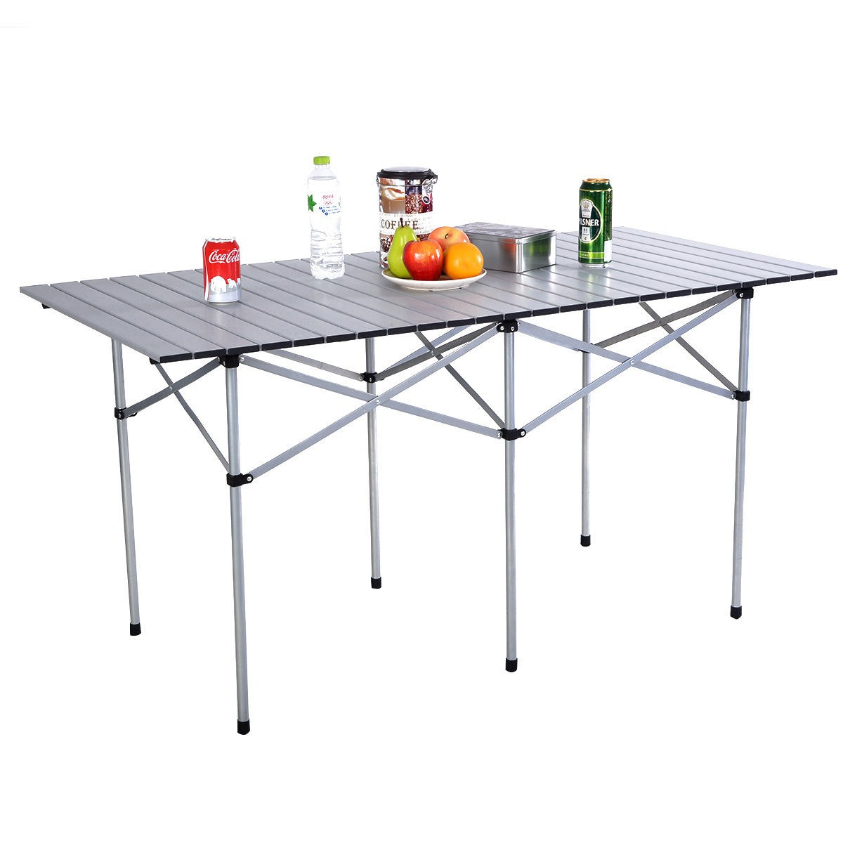 Portable Aluminum Roll Up Table Folding Camping Outdoor Picnic Table Garden  Yard (Large)