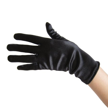 SeasonsTrading Black Satin Gloves (Wrist Length) - Wedding, Prom, Party - Black Skeleton Gloves