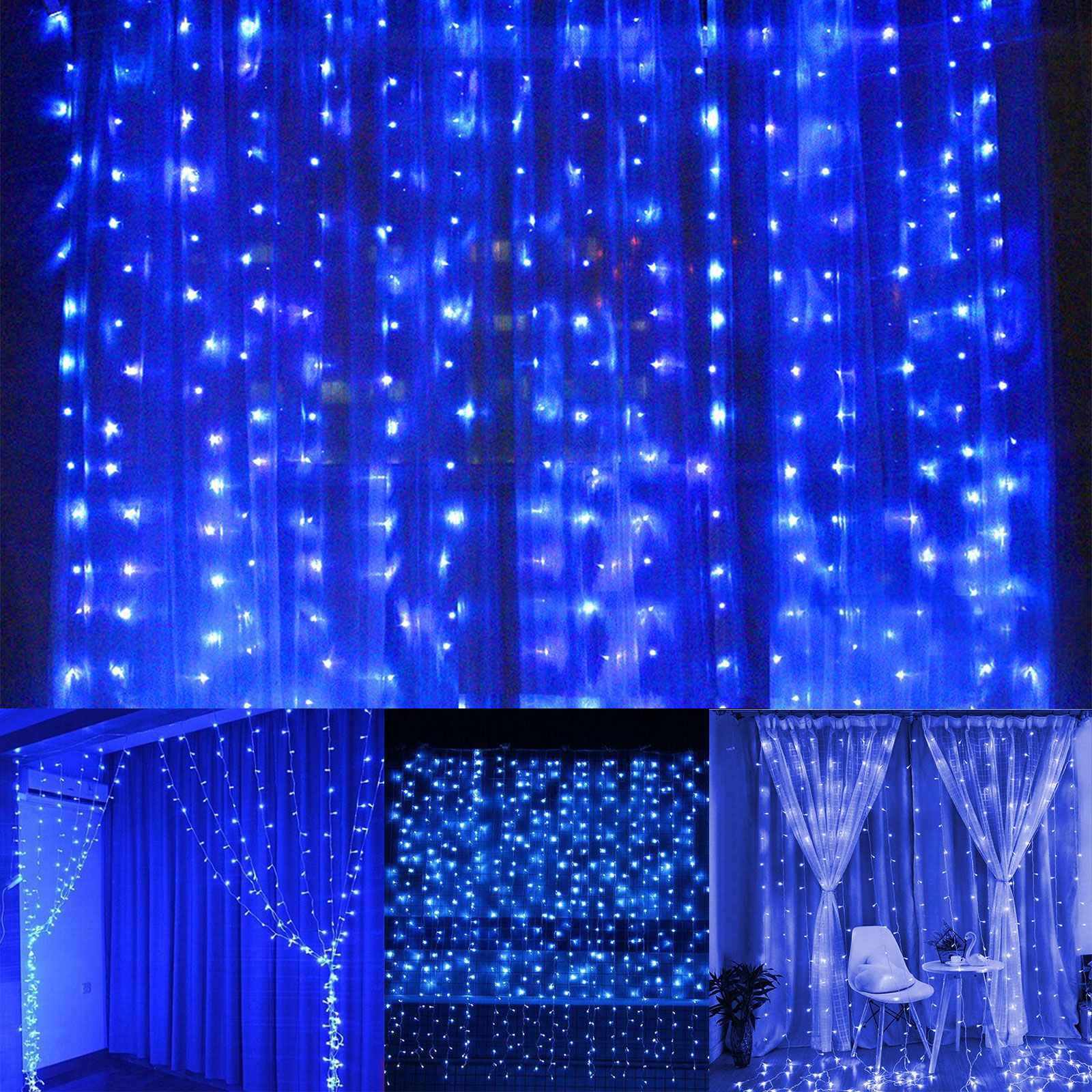 Window Curtain Icicle Lights, 304 LEDs String Fairy Starry Twinkle Stars Curtain Lights Indoor Outdoor Wall Window Curtain String Lights for Bedroom Party Wedding Christmas Decor
