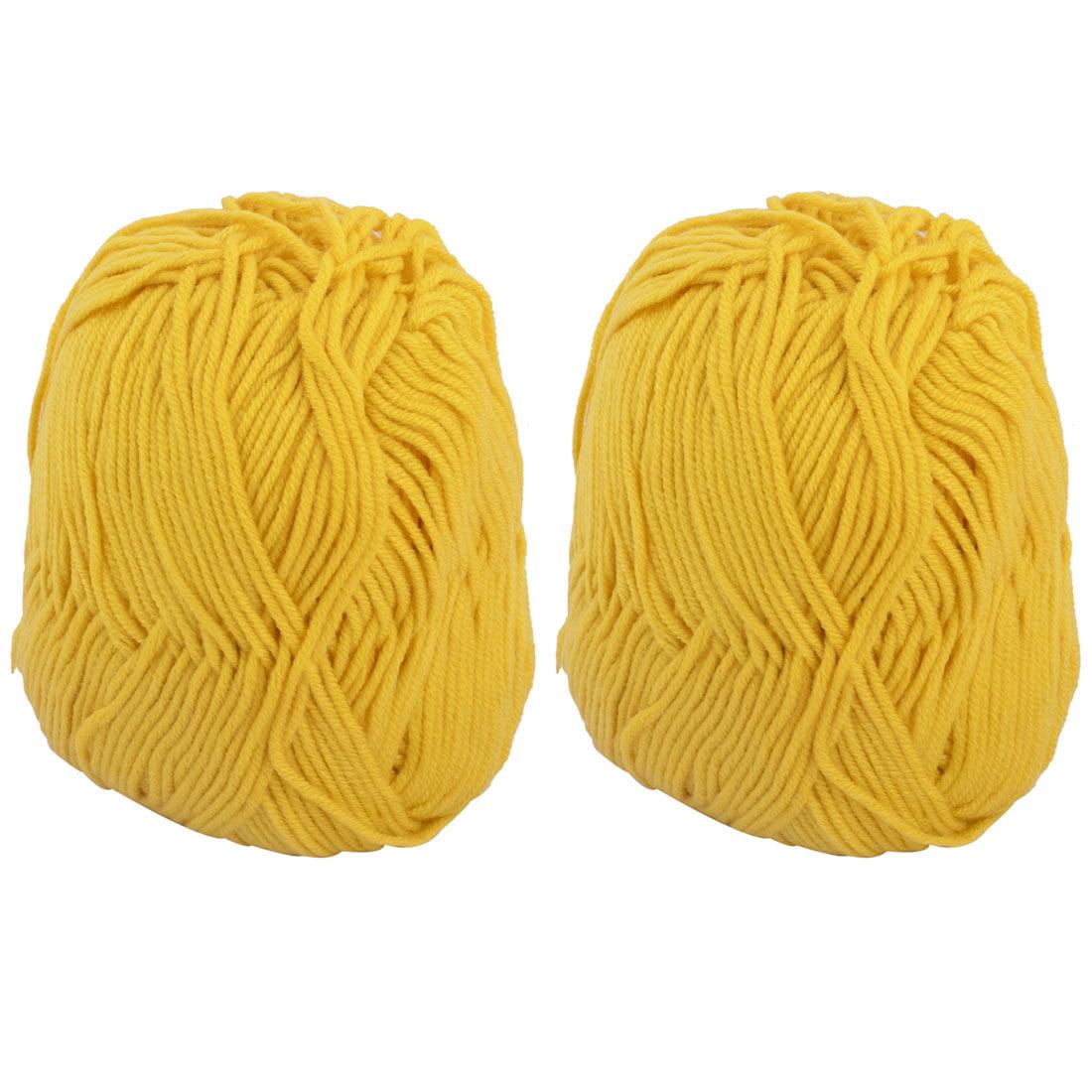 DIY Shawl Scarf Hat Glove Cord Tatting Knitting Weaving Yarn Yellow 100g 2pcs - image 3 of 3