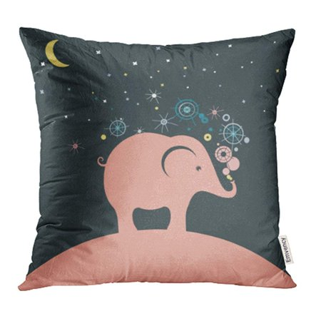 ARHOME Unique Pink Elephant Girl Abstract Animal Announcement Arrival Baby Birth Pillow Case Pillow Cover 16x16 inch Throw Pillow Covers