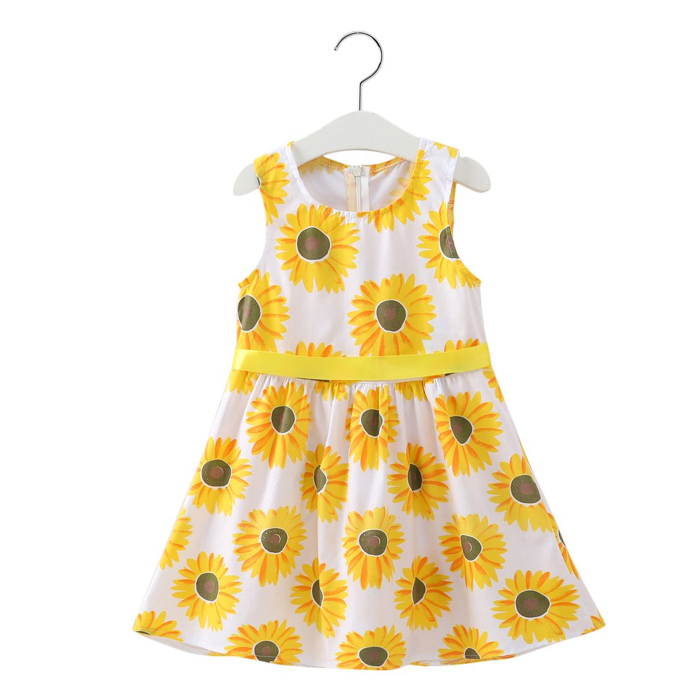 Toddler Kids Baby Girls Flower Dress Sunflower Party Bridesmaid Pageant Dresses