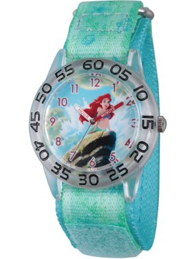 Princess Ariel Girls' Clear Plastic Time Teacher Watch, Green Stretch Hook and Loop Nylon Strap with Printed Ariel